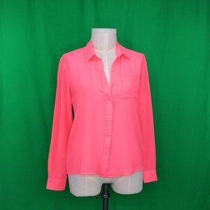 Kut From the Kloth Small Hot Pink Semi Sheer Top
